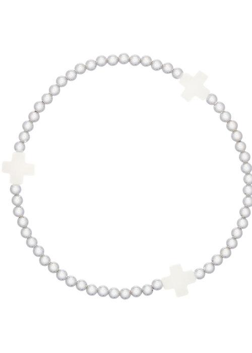 Enewton Signature Cross Pattern 3mm Bead Bracelet Sterling Silver