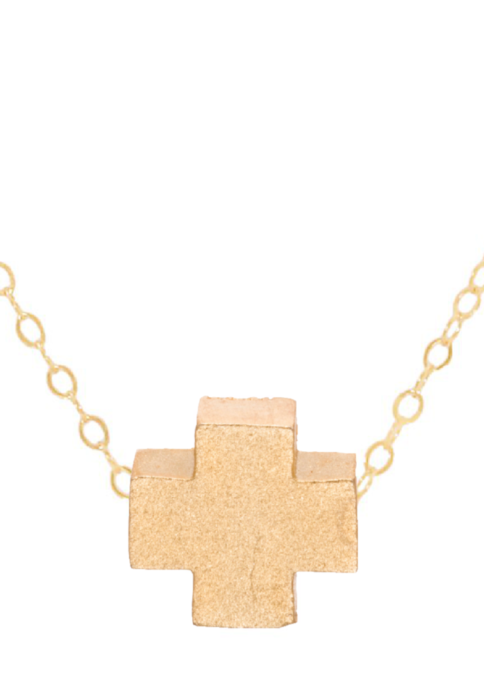 "16"" Necklace Gold Signature Cross Matte Gold"