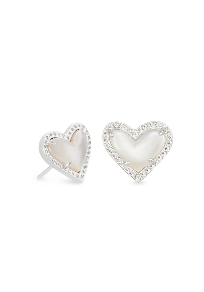 Ari Heart Stud Earring Silver Metal Ivory Mother of Pearl