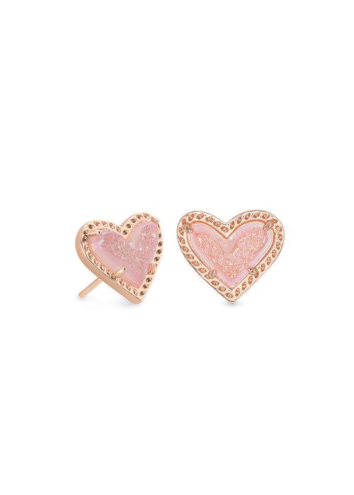 Kendra Scott Ari Heart Stud Earring Rose Gold Metal Pink Drusy