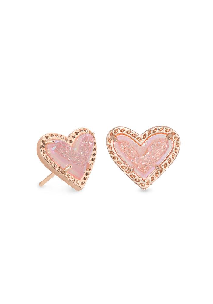 Ari Heart Stud Earring Rose Gold Metal Pink Drusy