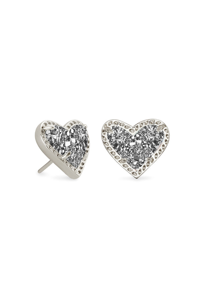 Ari Heart Stud Earring Silver Metal Platinum Drusy
