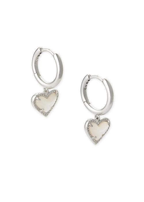 Kendra Scott Ari Heart Huggie Earring Silver Metal Ivory Mother of Pearl