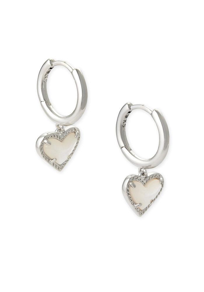 Ari Heart Huggie Earring Silver Metal Ivory Mother of Pearl