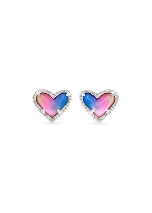 Kendra Scott Ari Heart Stud Earring Silver Metal Watercolor Illusion
