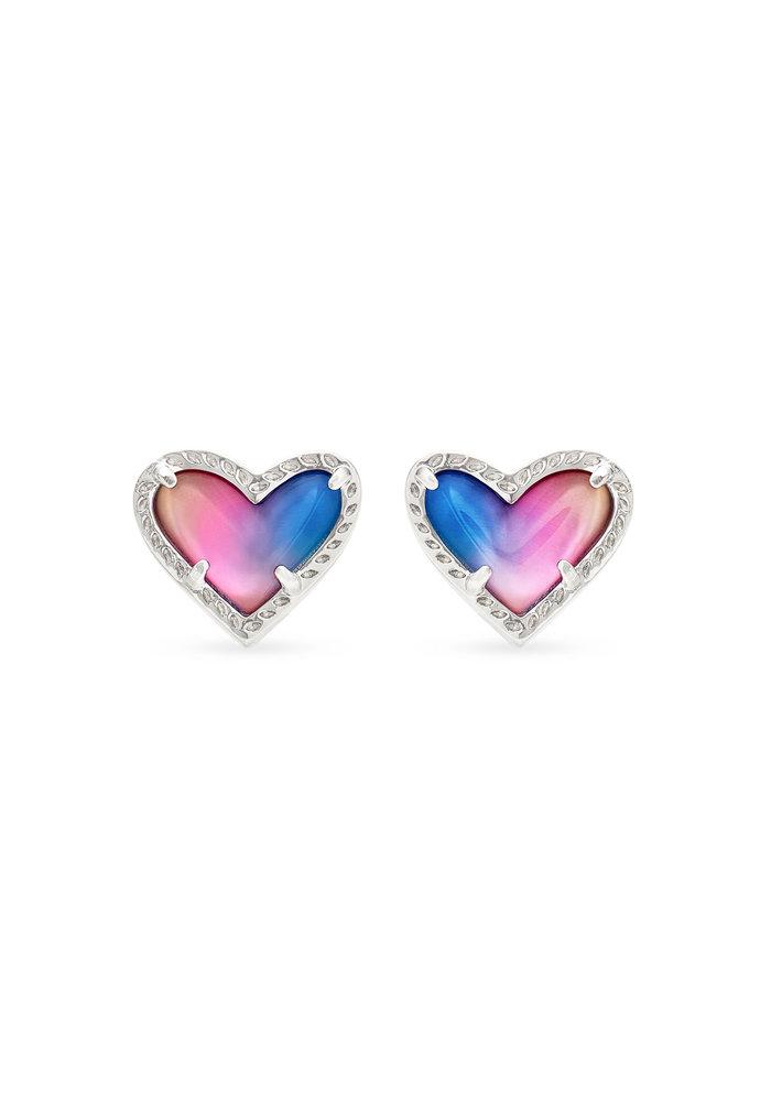 Ari Heart Stud Earring Silver Metal Watercolor Illusion