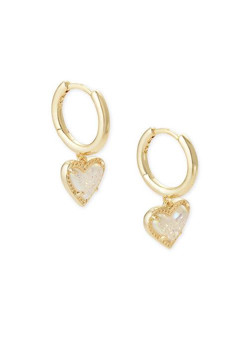 Kendra Scott Ari Heart Huggie Earring Gold Metal Iridescent Drusy