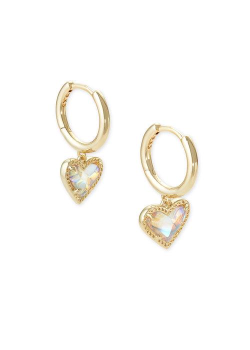 Kendra Scott Ari Heart Huggie Earring Gold Dichroic Glass