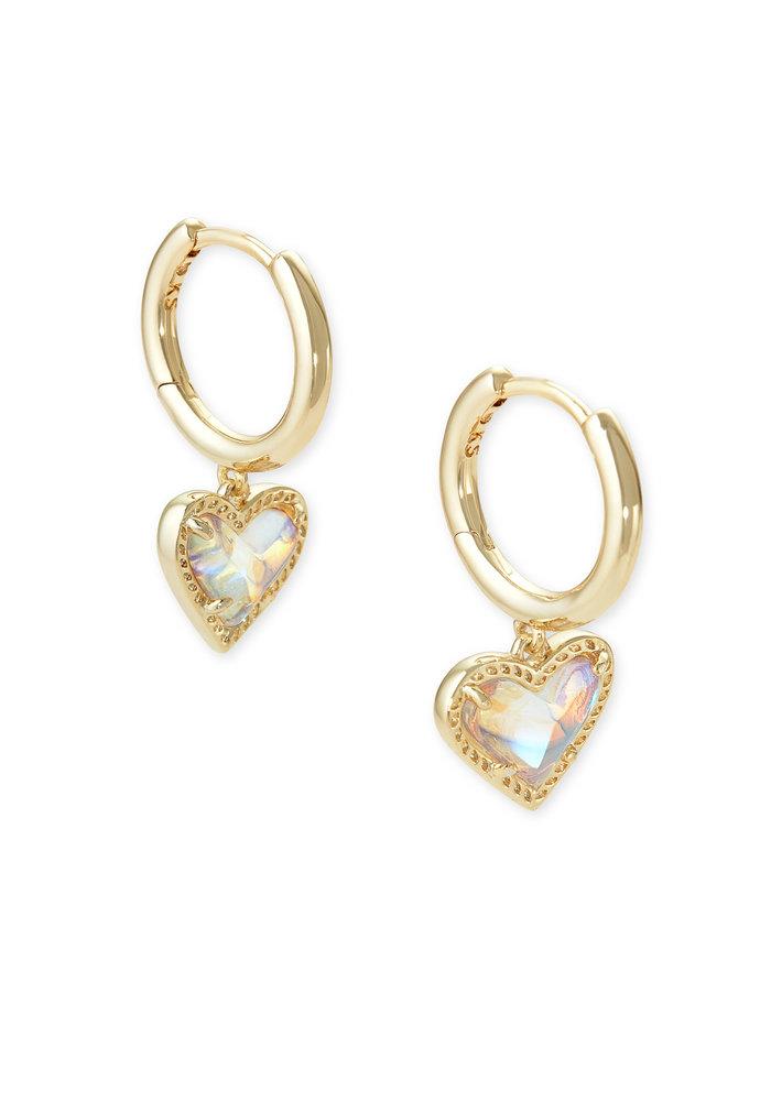 Ari Heart Huggie Earring Gold Dichroic Glass