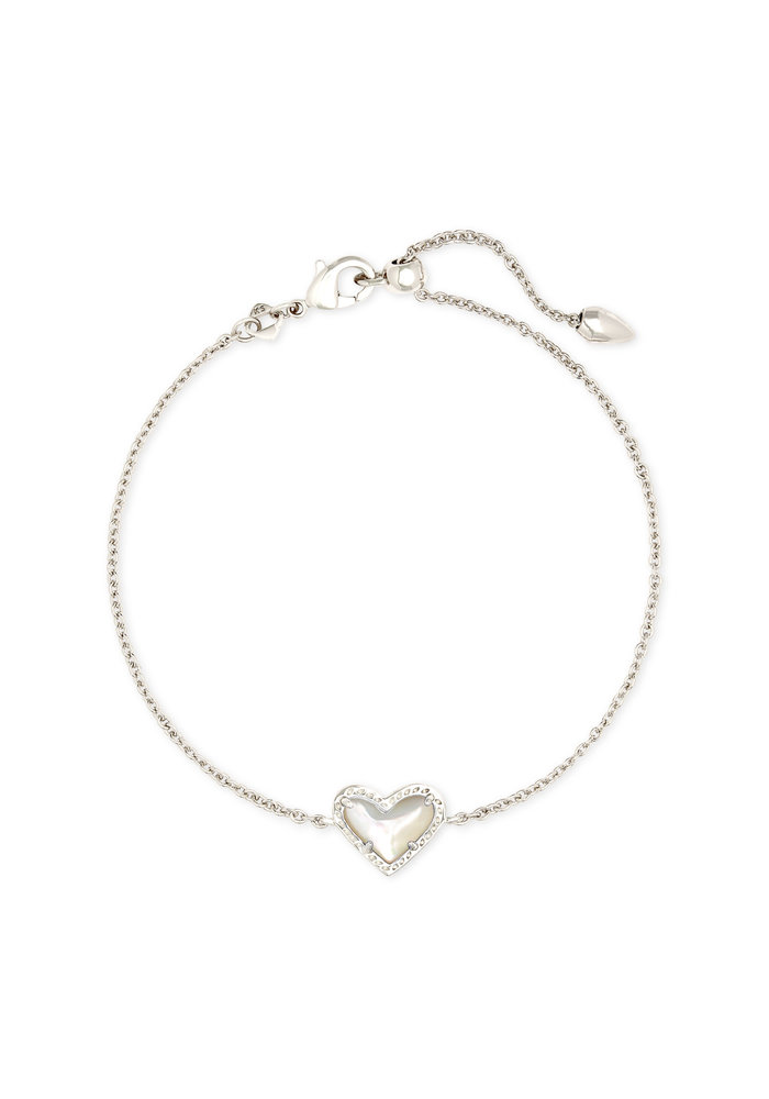 Ari Heart Delicate Bracelet Silver Metal Ivory Mother of Pearl
