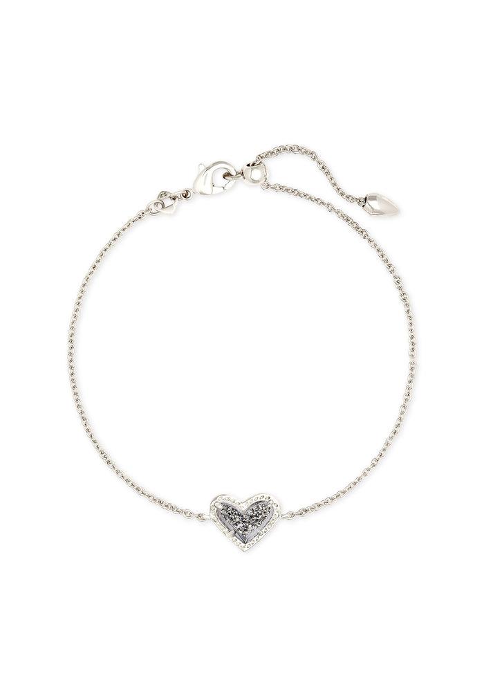 Ari Heart Delicate Bracelet Silver Metal Platinum Drusy