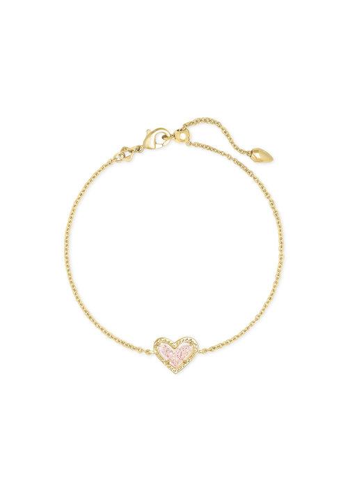 Kendra Scott Ari Heart Delicate Bracelet Gold Metal Iridescent Drusy