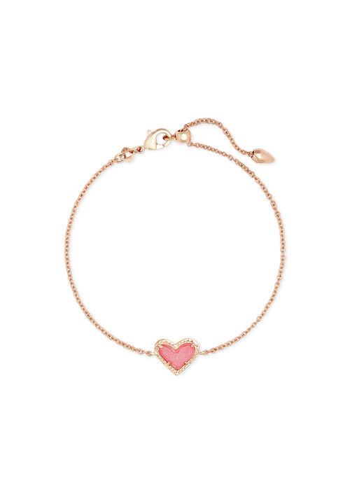 Kendra Scott Ari Heart Delicate Bracelet Rose Gold Metal Pink Drusy