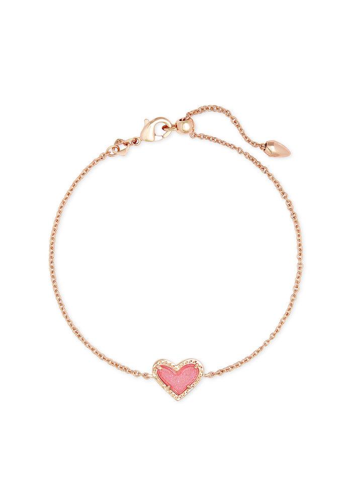 Ari Heart Delicate Bracelet Rose Gold Metal Pink Drusy