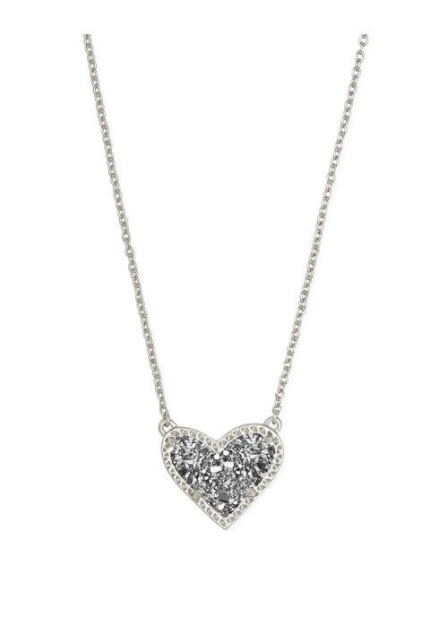 Kendra Scott Ari Heart Short Pendant Silver Metal Platinum Drusy
