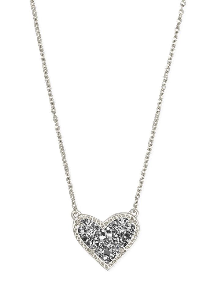 Ari Heart Short Pendant Silver Metal Platinum Drusy
