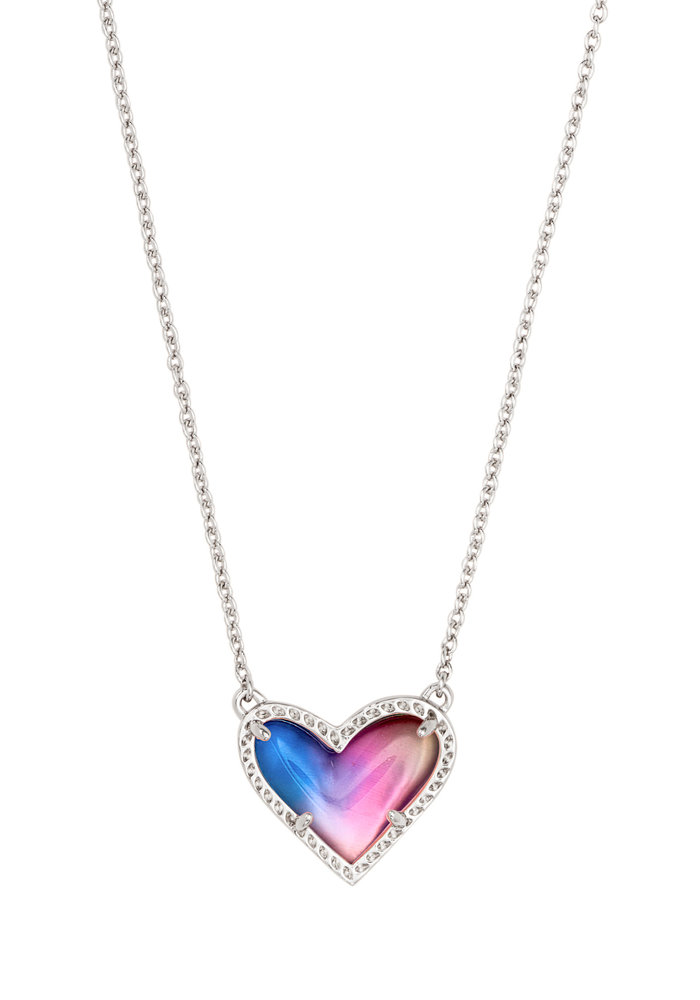 Ari Heart Short Pendant Silver Metal Watercolor Illusion