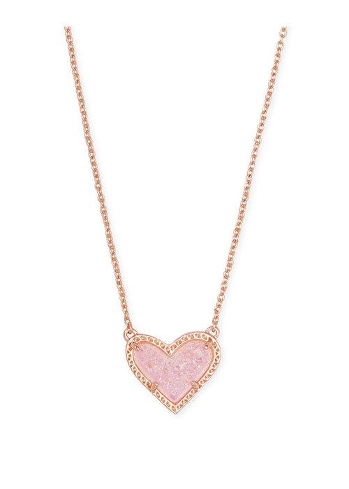 Kendra Scott Ari Heart Short Pendant Rose Gold Metal Pink Drusy