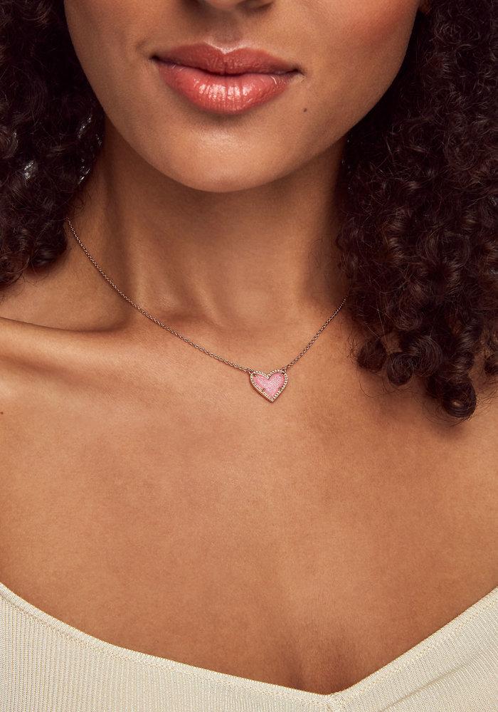 Ari Heart Short Pendant Rose Gold Metal Pink Drusy