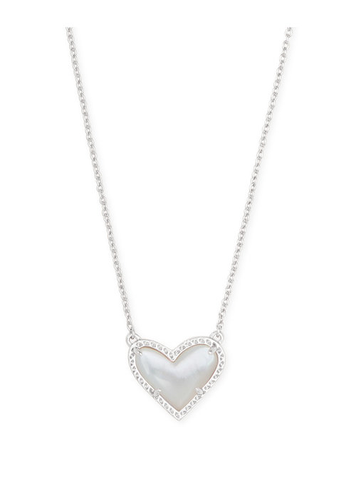 Kendra Scott Ari Heart Short Pendant Silver Metal Ivory Mother of Pearl