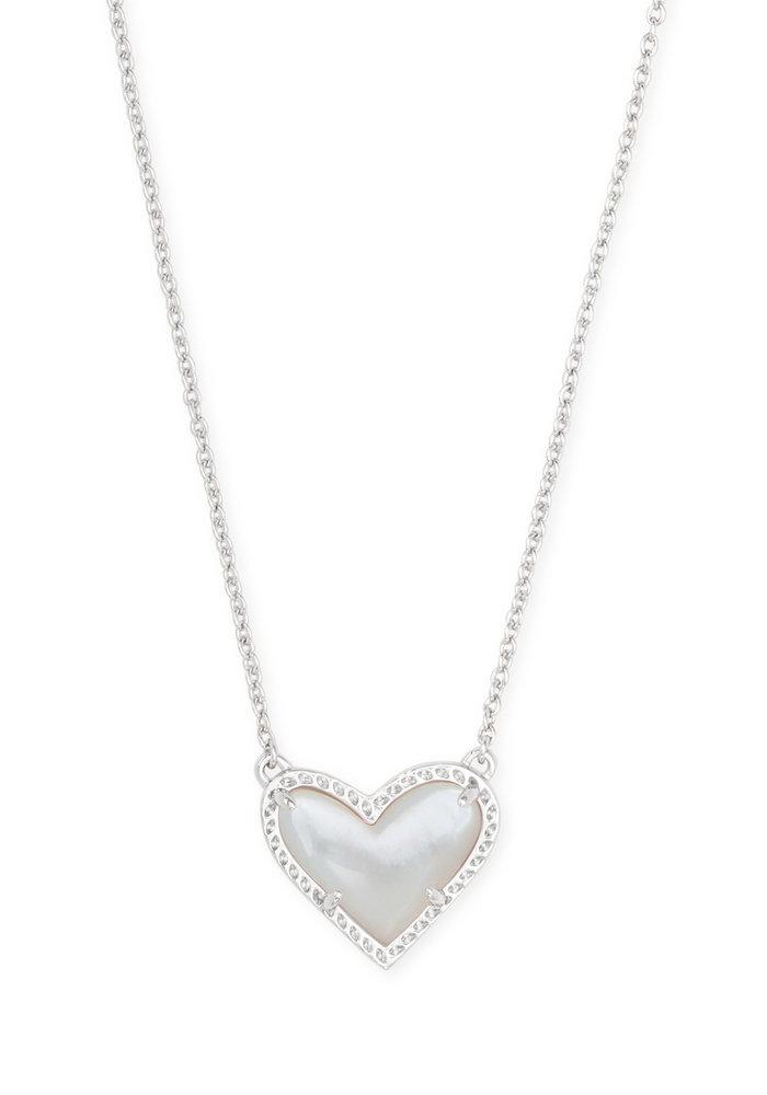 Ari Heart Short Pendant Silver Metal Ivory Mother of Pearl