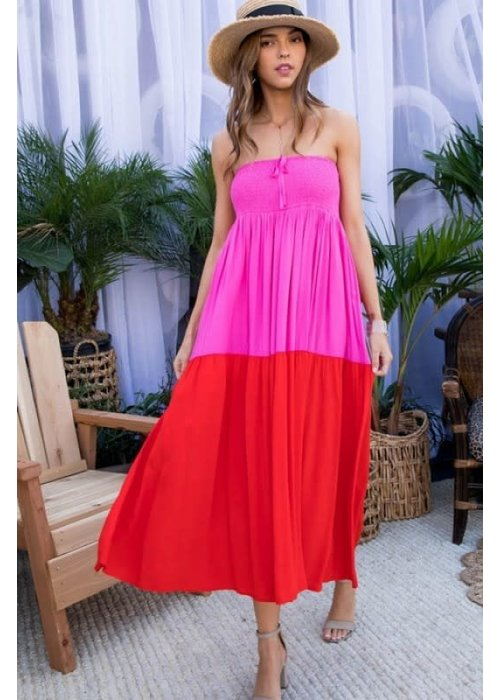 Two Way Color Block Maxi Dress/Skirt Combo