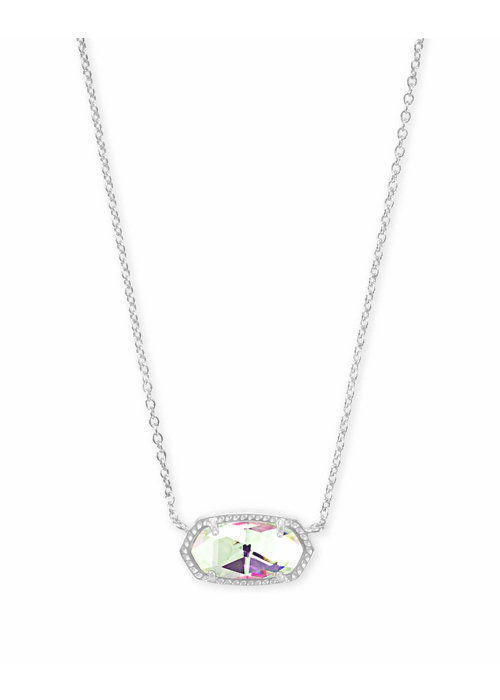 Kendra Scott Elisa Necklace Silver Metal Dichroic Glass