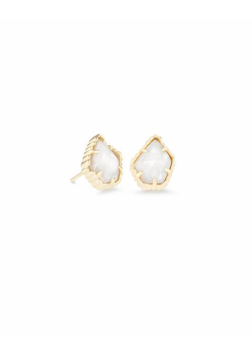 Kendra Scott Tessa Earring Gold Metal White Mother of Pearl