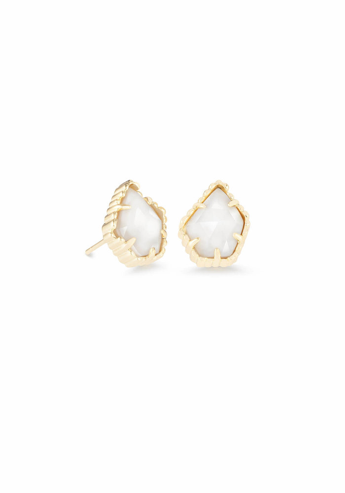 Tessa Earring Gold Metal White Mother of Pearl