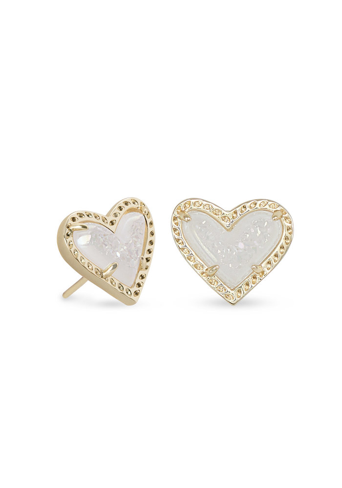 Ari Heart Stud Earring Gold Metal Iridescent Drusy