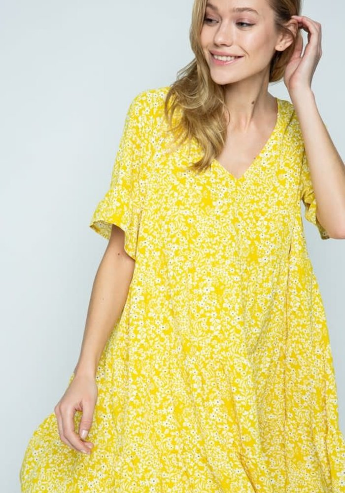 Yellow Flower Print Babydoll Dress