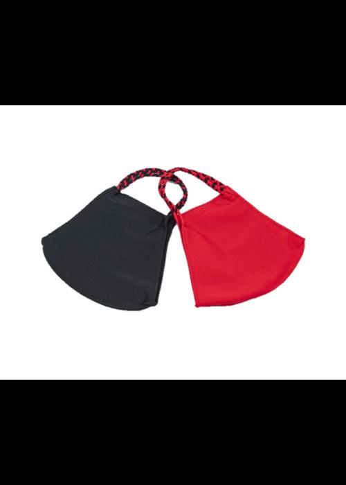Half Red, Half Black & Red/Black Braid Face Mask