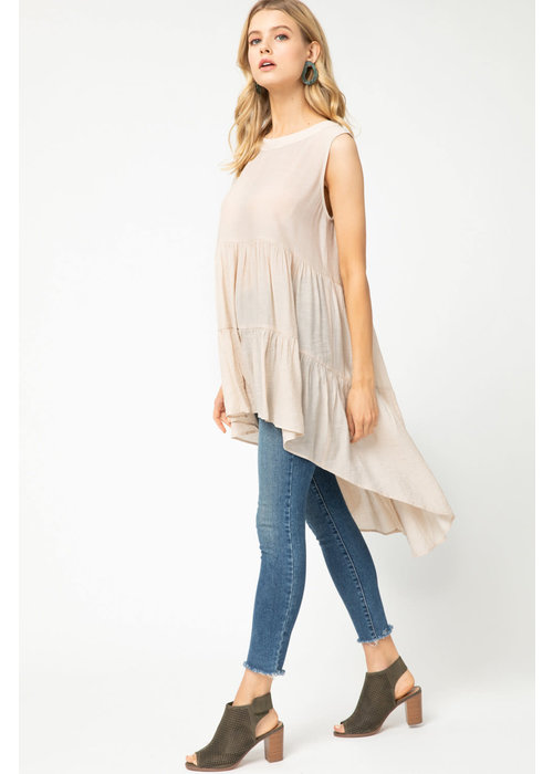 Solid Sleeveless High-Low Ruffle Babydoll Top