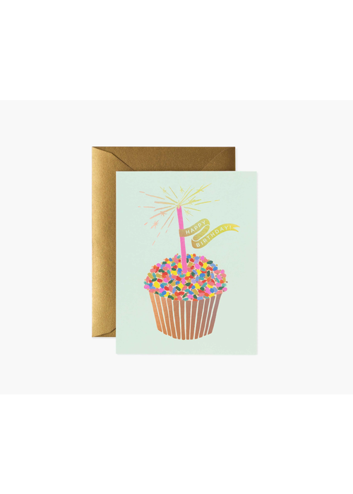 "Rifle Paper Gold Foil Cupcake ""Happy Birthday"" Card"