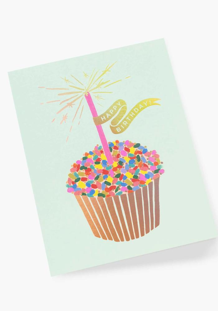 "Gold Foil Cupcake ""Happy Birthday"" Card"