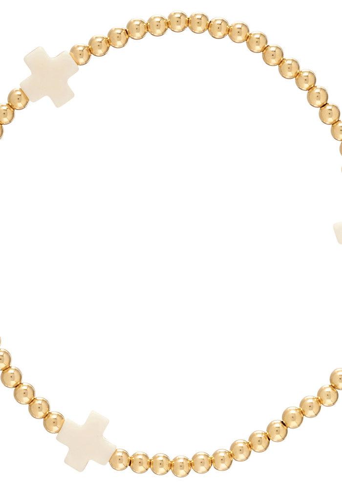 Signature Cross Pattern 3mm Bead Bracelet 14K Gold