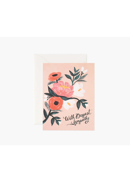 "Rifle Paper ""With Deepest Sympathy"" Peach Floral Card"