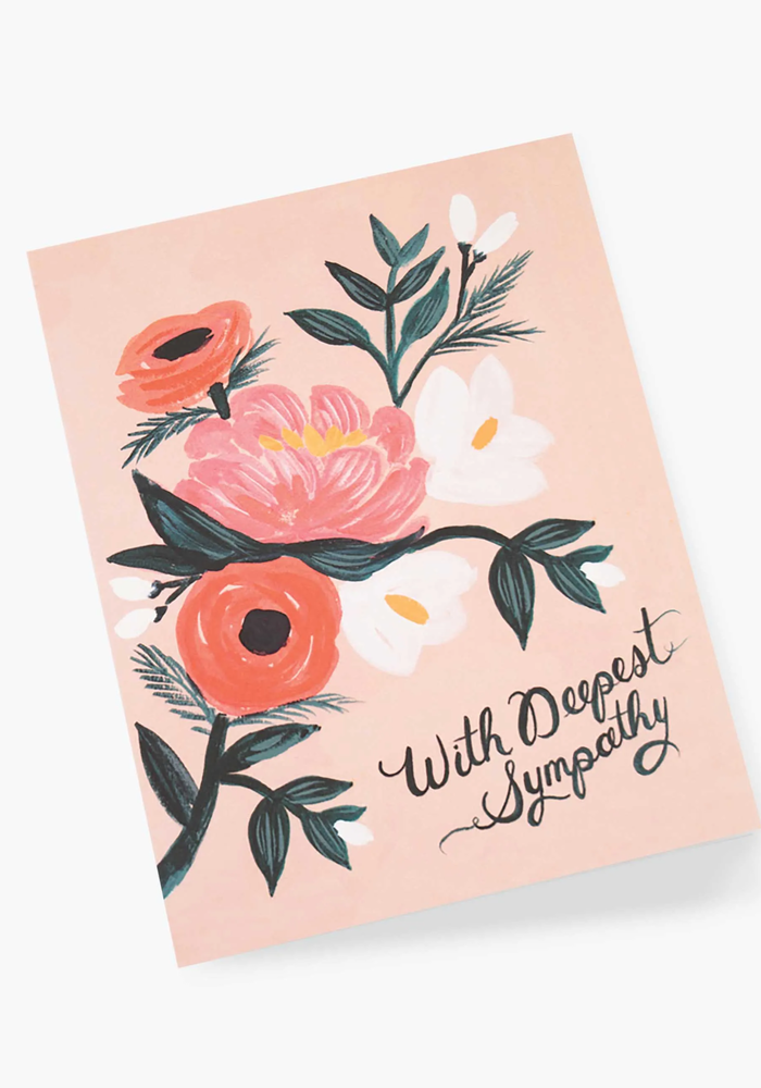 """""""With Deepest Sympathy"""" Peach Floral Card"""