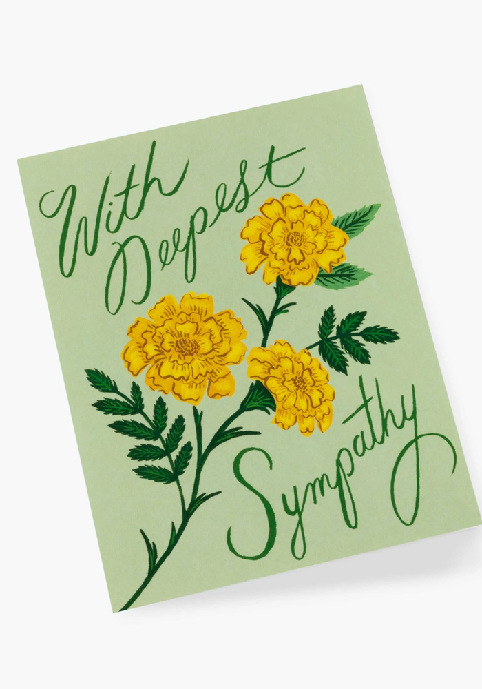"""""""With Deepest Sympathy"""" Marigold Card"""