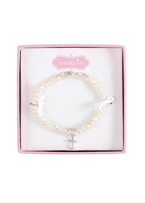 Mudpie Cultured Pearl Cross Bracelet