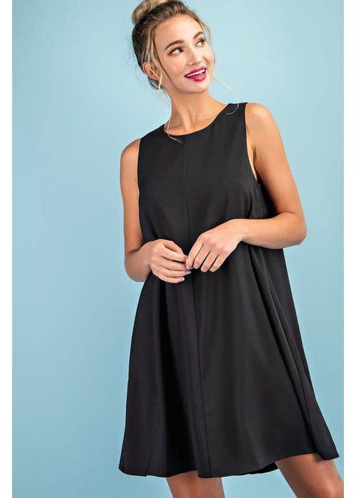 Flared Round Neck Mini Dress