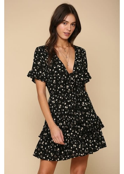Front-Tie Dainty Floral Ruffle Woven Dress