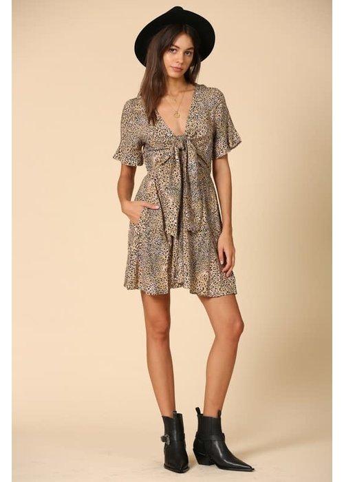 Leopard Print Plunge Bow Tie Dress
