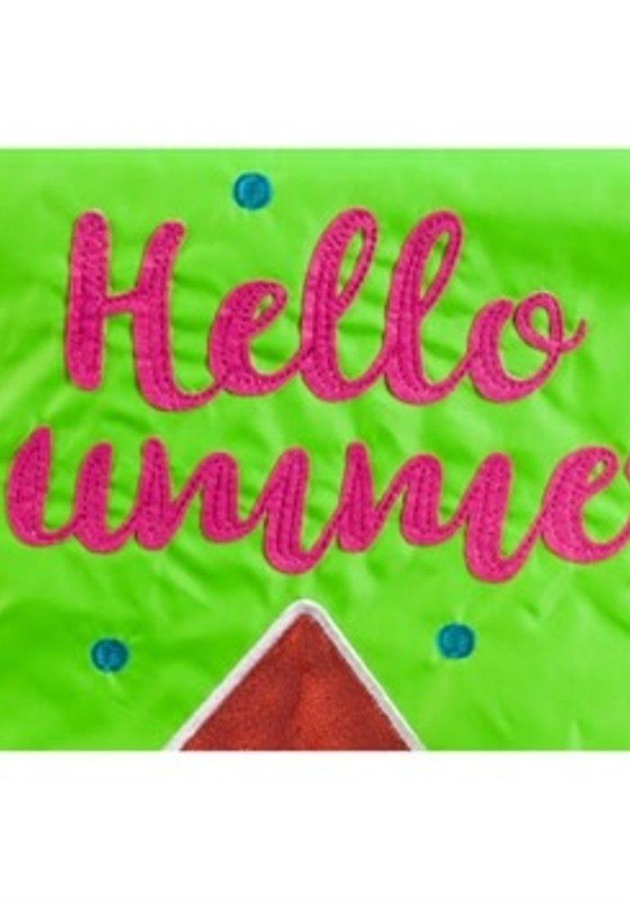 """""""Hello Summer"""" Watermelon Garden Applique Flag"""