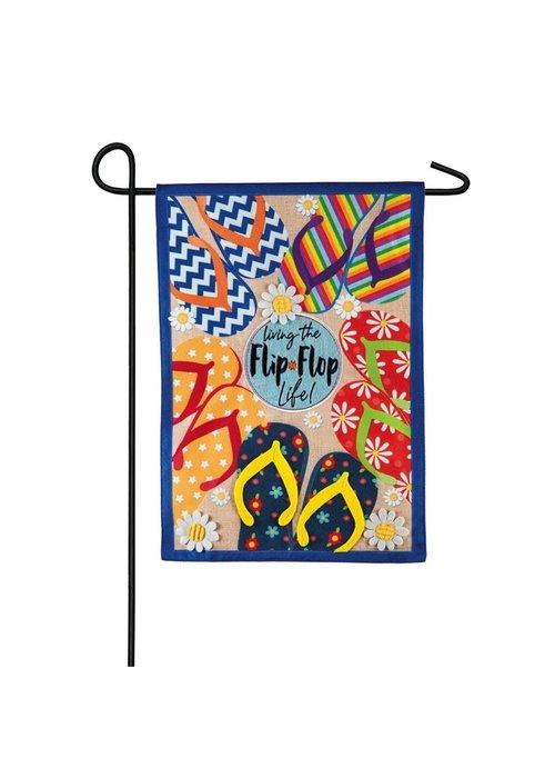 """Living the Flip Flop Life"" Linen Garden Flag"