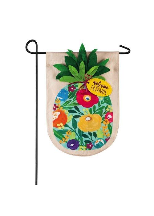 Floral Pineapple Linen 3-D Garden Flag