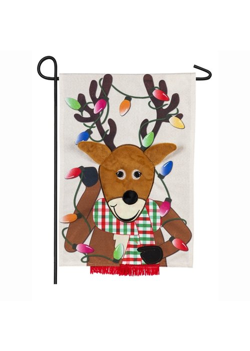 Reindeer Linen Garden Flag