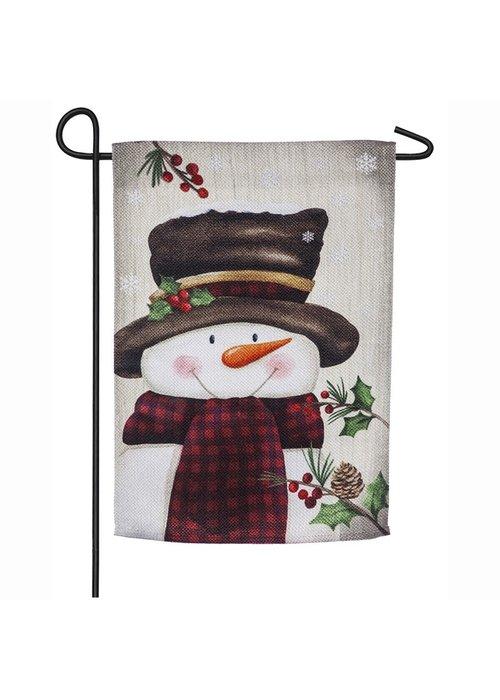 Smiling Snowman Textured Suede Garden Flag