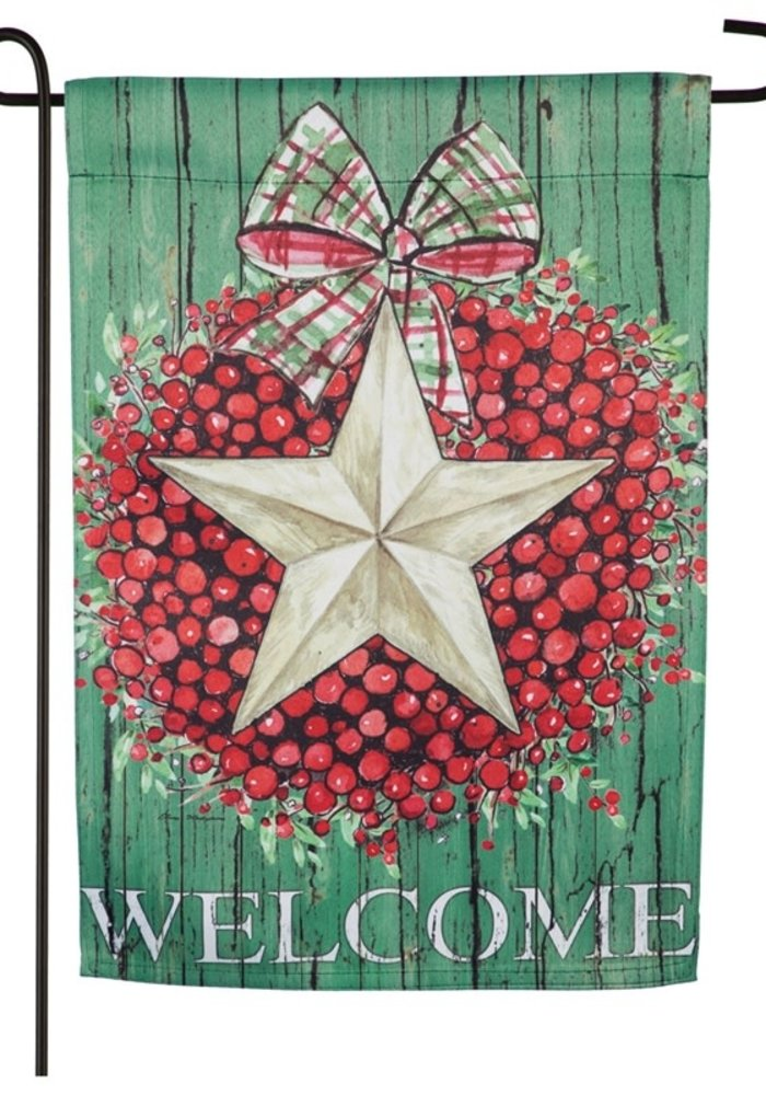 Berry Star Wreath Suede Garden Flag