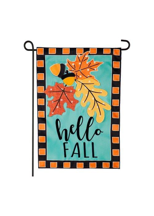 Hello Fall Leaves Applique Garden Flag